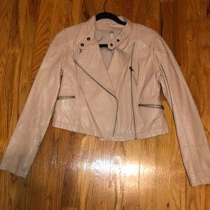 Free People Blush Pink Leather Jacket